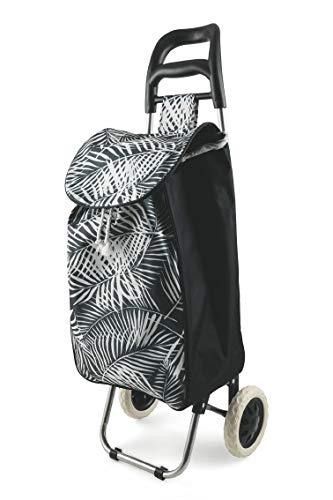 Galileo Casa 2193395 Felce Weiß Schwarz Einkaufstrolley mit 2 Rädern