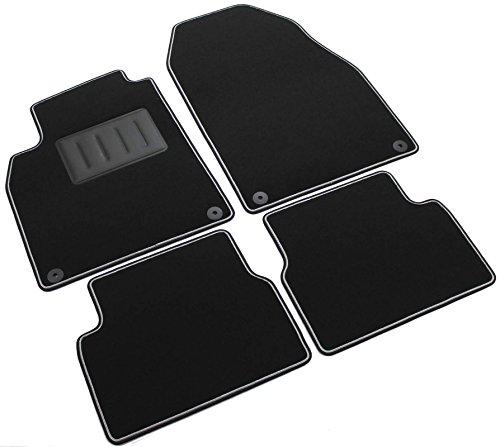 Il Tappeto Auto, SPRINT03800 - Alfombrillas de moqueta para coche, color negro, antideslizantes, con borde bicolor, talonera reforzada con goma