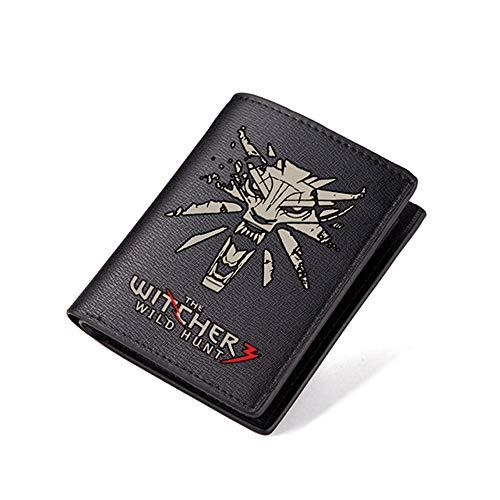 The Witcher 3: Wild Hunt - Monedero largo de piel sintética para hombre, diseño de monedero - Negro - Pantalones Cortos