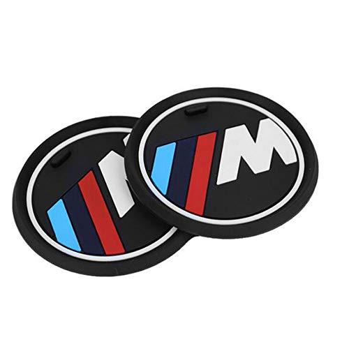 Myhonour 2 Stück M Linie Auto Innenraum Zubehör Anti-Slip Untersetzer für BMW 1 3 5 7 Serie F30 F35 320li 316i X1 X3 X4 X5 X6 (Durchmesser 2.9 (74mm))