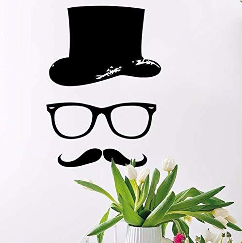DIY Wanddekorkunst Vinyl Aufkleber Wandbild Aufkleber Hipster Hut Brille Bart Kinder Wasserdichte Wandaufkleber Aufkleber Dekoration 28x39 cm