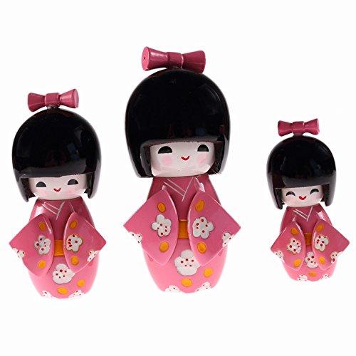 3 muñecas japonesas Kokeshis - Ayako Amour Sentiments - Decoración Japonesa