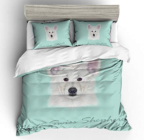 JSDJSUIT Bettwäsche-Set MUSOLEI 3D Bettwäscheset Animal White Dog Head EIN ziehendes Ohr und EIN stehendes Ohr Tiffany backgroud Bettlaken Twin Queen King, AU King 3tlg