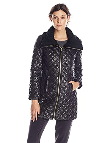 Via Spiga Women's Lightweight Quilted Jacket with Knit Collar, Black, X-Small