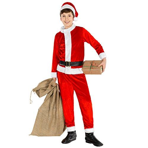 Jungenkostüm Nikolaus | Weihnachtsmannkostüm Hose und Oberteil | inkl. Stiefelüberzieher aus Kunstleder + Gürtel + Zipfelmütze (10-12 Jahre | Nr. 300453) (Weihnachtsfeier Kostüm Ideen Für Erwachsene)
