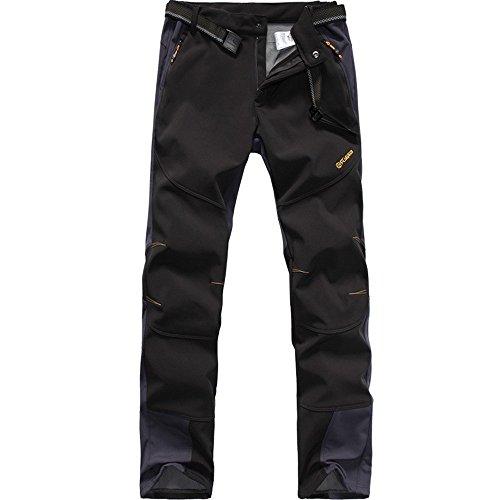 FLYGAGA Homme Pantalon Softshell Doublé polaire Coupe-vent Imperméable Outdoor Sport Camping Randonnée Trekking Pantalon (Large, Noir)