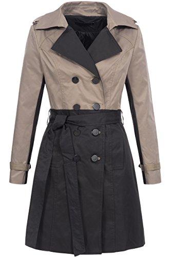 Trenchcoat | Übergangs Jacke | Kurz-Mantel für Damen TR14031 - edler Übergangsmantel mit doppelreihiger schwarzer Knopfleiste, Gr. XL