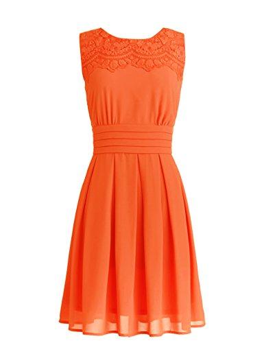 Dressystar Robe de soirée/bal courte avec Appliques en mousseline Orange