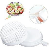 Salatschneider, Ganzen Salat Abwaschen Abtropfen Schneiden Anrichten, Für Gemüse und Obstsalat, Salad Cutter Bowl 3-1 Salatschleuder in 60 Sekunden