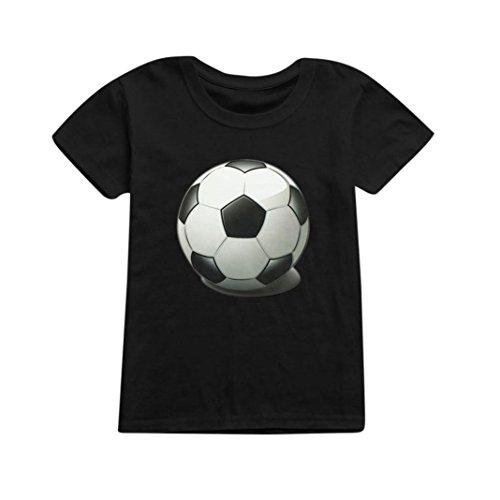 Vêtements Unisexe Ete Oyedens Enfants Garçons Filles Coupe du Monde T-Shirt de Football Tee Shirt Tops Manches Courtes Hauts Vêtements Garçon Fille pour 1-12 Ans (Noir, 9-10 Ans)