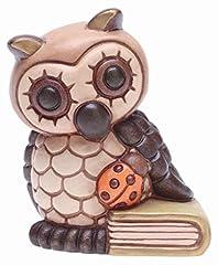 Idea Regalo - THUN® - Gufo Portafortuna Piccolo con Libro e Coccinella - Bomboniera Laurea - Animali da Soprammobile da Collezione - Ceramica - I Classici