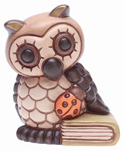 THUN - Gufo Portafortuna Piccolo con Libro e Coccinella - Bomboniera Laurea - Animali da Soprammobile da Collezione - Ceramica - I Classici