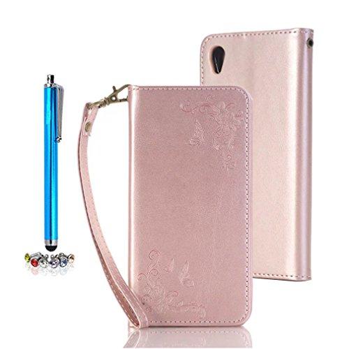 A9H Sony Xperia X Performance PU Leder Handytasche Drucken Wallet Schutzhülle Kunstlederhülle Taljereep Kredit Kartenfächer Case Book Cover,rose gold