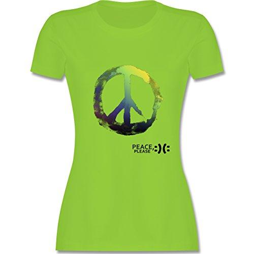 Statement Shirts Frieden, bitte Peace, please Peacesymbol bunt tailliertes  Premium TShirt mit Rundhalsausschnitt für Damen Hellgrün