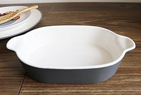 Binaural Pfanne Western Backform aus Keramik Schalen aus Pasta und Käse Tablett dunkelgrau (Keramik Pasta Bowl)