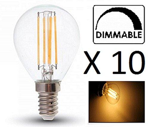 Lampadina LED a filamento P45, dimmerabile, confezione da 10, E14/SES, finitura in vetro, 4W, luce bianca calda