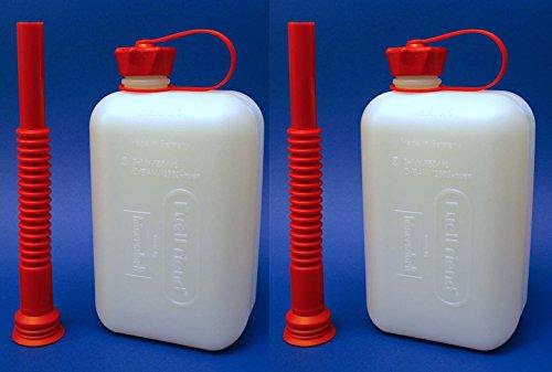 Preisvergleich Produktbild 2x FuelFriend® BIG CLEAR max. 2 Liter Klein-Benzinkanister Reservekanister für Auto + Motorrad mit Füllrohr