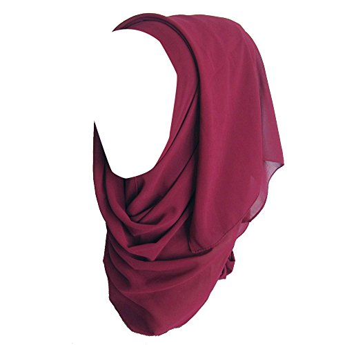 Sunnyuk Hijab Kopftuch Muslim Chiffon Turban Elegant Kopftuch Chiffon Für muslimische Frauen Bequem Hijab Schal Kopftücher hut Mützen Caps damen 180CM (G)
