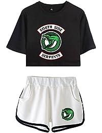 OLIPHEE Chándales de Verano Impresa Serpiente de Riverdale Camisa y Pantalones Cortos para Niña