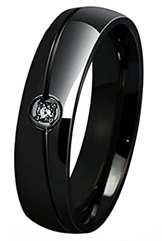 SaySure - Black Silver Color Titanium Steel Solid Ring (SIZE : 12)