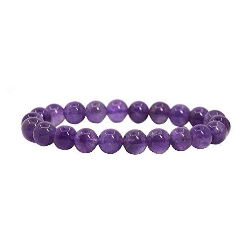Contever® 8mm Naturstein 23 Lava Beads Amethyst -Armband Elastisches Armreif