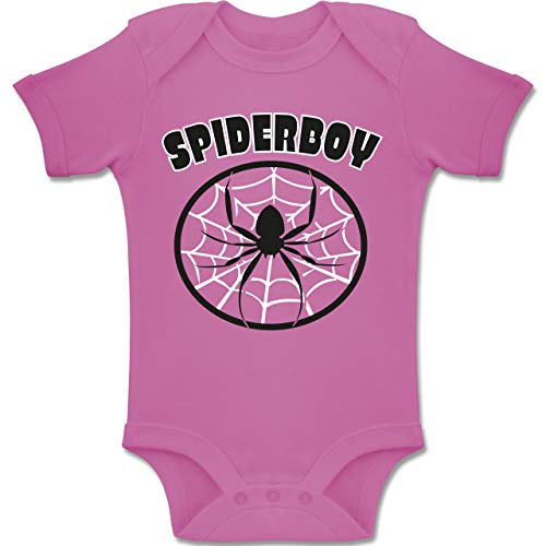 Karneval und Fasching Baby - Spiderboy - 3-6 Monate - Pink - BZ10 - Baby Body Kurzarm Jungen Mädchen