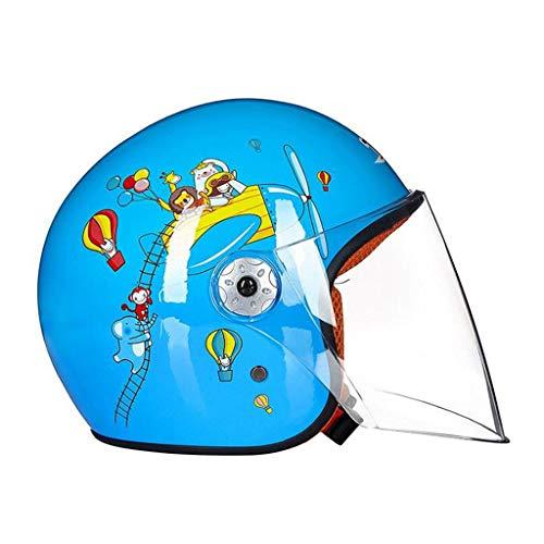 Casco per bambini Bambino Bambino Cartoon Autunno e inverno Batteria auto casco ragazzi e ragazze moto elettrica (colore : Blu)