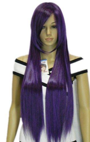 QIYUN.Z Haarteile Damen Perücken Trauben Lila Lange Gerade Rampe Pony Party Hitzebeständige Faser Synthetische Haar Voller Anime Cosplay Kostüm Perücke (Lila Trauben Kostüme)