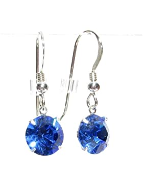 Ohrhänger/Ohrringe mit Sapphire Blue-Kristall von Swarovski, 925Silber