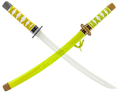 Katana KINDER NINJA-Samurai-Schwert Gelb 60cm Ninja-Kostüm Säbel Dolch Messer Set - Super Samurai Kostüm