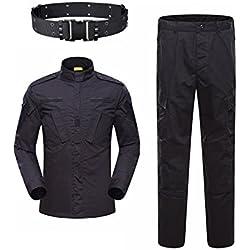 KYhao Traje táctico militar de camuflaje para hombre, caza, combate BDU, camisa uniforme y pantalones con cinturón para tiro, caza, juego de guerra, airsoft, paintball, S, Negro