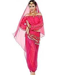 Astage Mujeres Danza del Vientre Disfraz Active Wear Top Pantalones  Cinturón Sets Rosa Caliente 7e3200305ec