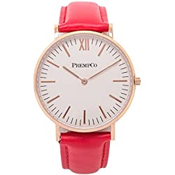 Prempco - Nobel - Ladies Watch - Ivory White - Rose Gold - Quick Change Watch Wrist Band in Red