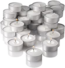 Pure Source India Wax Tea Light Candle (White, Set of 100) Smokeless Candles