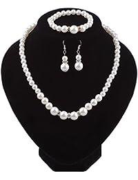 2faef5650c87 Joyería de Las Mujeres Conjunto Elegante Perla Brillante imitación Collar +  aretes + Pulsera Conjunto para