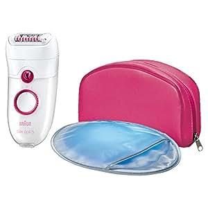 Braun Silk-épil 5 Power 5185 Épilateur Électrique Jambes pour Femme - CloseGrip et 3 Accessoires Massage, Gant Refroidissant et Pochette Rose