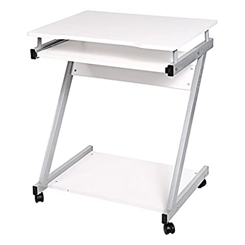 Cooshional Compact Z-Shaped Computer Desk,PC Table Notebook Desk,with Sliding Keyboard Tray and Rolling Wheels [UK STOCK] (White)