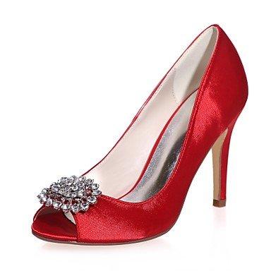 Wuyulunbi@ Scarpe donna raso Primavera Estate della pompa base scarpe matrimonio Stiletto Heel Peep toe strass per la festa di nozze & Sera Argento Rosso Blu Rosso