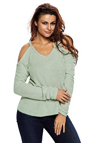 VIGVOG Damen Sweatshirt grau grau Gr. S, lichtgrün (Pique Shirt Knit Sleeve)