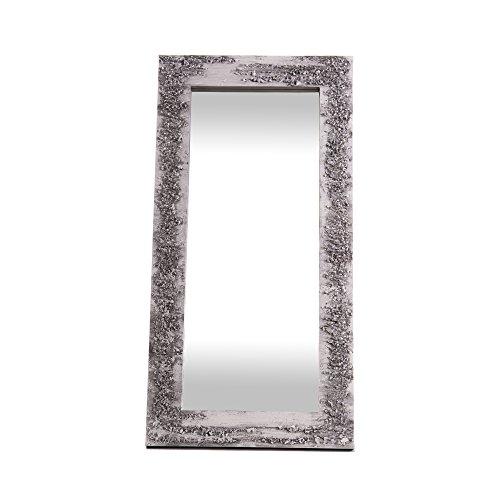 Lohoart L-1261-2 - Espejo Sobre Lienzo Pintado Artesanal, Espejo Pared Color Blanco y Plata, Medidas...