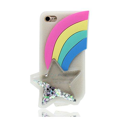 iPhone 7 Custodia, iPhone 7 Copertura Premium TPU Nuovo prezzo basso di marca in iPhone 7 case [Anti-Scratch] [assorbimento di scossa] (3D stelle Rainbow) # 1