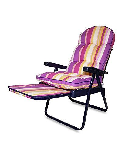 Tecnoweb ricambio cuscino arrotondato per sdraio con carrello super imbottita col.multiriga rosa lilla fucsia