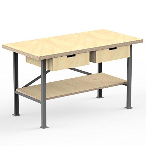 AUPROTEC Profi-Werkbank 1600 x 750 x 850 mm Arbeitsplatte Multiplex 40mm mit 2 Schubladen und Ablage Holz Werkbankplatte Massiv Multiplexplatte - Industriequalitäts-Werktisch Metall-garage Bausatz