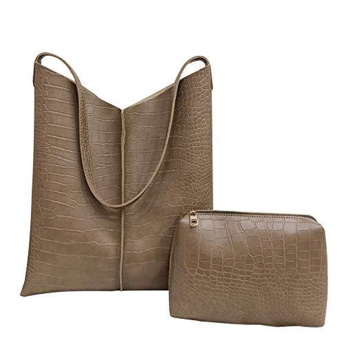 Saingace(TM) Handtaschen Damen Umhängetaschen Kuriertasche,2 Stücke Mode Frauen Alligator Leder Crossbody Taschen Messenger Griff Tasche -