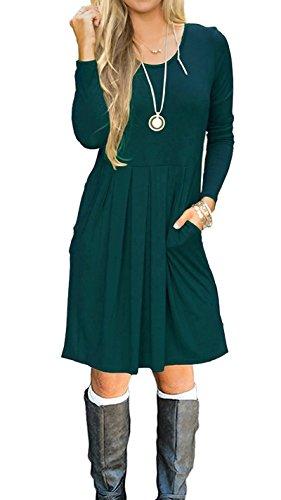 LILBETTER Damen Langarm-beiläufige Plissee Loose T-Shirt-Kleid (Dunkelgrün M)
