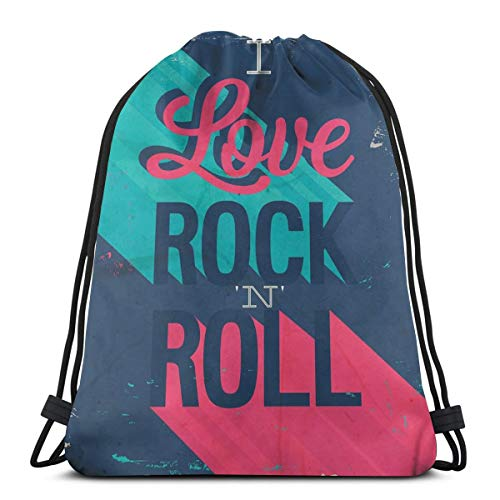 WTZYXS Drawstring Sack Backpacks Bags,Vintage I Love Rock and Roll Slogan Worn Abstract Poster,Adjustable,5 Liter Capacity,Adjustable. -