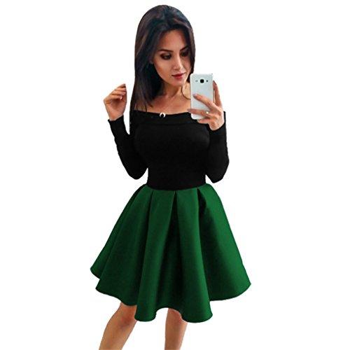 Damenkleid der FrauenJYJMLadies trägerloses Schulterkleid Damenmode Wort Peng Tutu Mode Frauen Langarm aus der Schulter Abend Party Ballkleid Kleid (S, Grün) (Waffel Knie-länge)