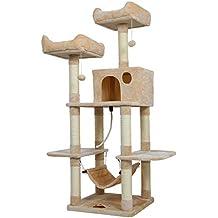 Árbol para Gatos Rascador Sisal Natural con Columnas, Colgante de Bola de Peluche de Juguete