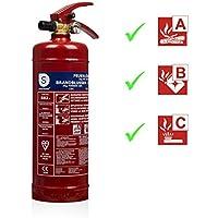 Smartwares 10.014.68 Extintor-2kg de Polvo seco Resistencia al Fuego ABC Incluye Soportes BB2, Rojo