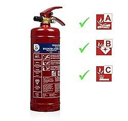 Smartwares SW BB2 Feuerlöscher 2 Kg/Pulverlöscher mit Halterung und Manometer, 2kg